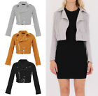 LADIES Faux SUEDE Side Zip CLASSIC Women Belted Crop BIKER JACKET Coat 8-16 UK