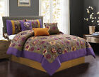 7-piece Clay Gold Gray Purple Printed Floral Comforter Set image