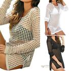 Women Sexy Beach Shirt Long Sleeve Bikini Cover Up Hollow Swimwear #F8s