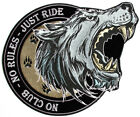 Embroidered No Club No Rules Just Ride Large Wolf Biker Back Patch