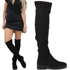 WOMENS LADIES BLACK OVER KNEE THIGH HIGH SUEDE LOW FLAT HEEL STRETCH BOOTS SIZE