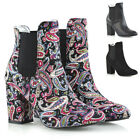 Womens Mid High Heel Ankle Boots Ladies Pull On Chelsea Elastic Gusset Shoes 3-8