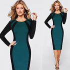 Womens Elegant Patchwork Contrast Casual Work Office Party Bodycon Sheath Dress