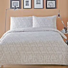 Geometric Modern Reversible Duvet Quilt Cover & Pillowcases, Natural Beige Cream
