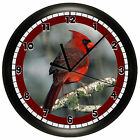 DECORATIVE RED MALE CARDINAL WALL CLOCK KITCHEN DECOR GIFT BIRD