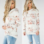Pullover Womens Tops Hoodie Casual Floral Print Long Sleeve Jumper Outwear Rose