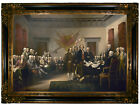 Trumbull Signing of Declaration of Independence Wood Framed Canvas Repro 19x28