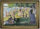 Seurat Sunday afternoon on the La Grande Island Wood Framed Canvas Repro 19x28