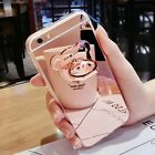 Luxury Women Mirror Back TPU Silicone Ring Holder Case Cover For Smartphone S001