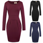 Womens Wrapped Bodycon Dress Ladies Evening Party Pencil Long Sleeve Midi Dress