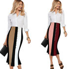 Women Contrast High Waist Front Slit Work Party Flared Mermaid Pencil Midi Skirt