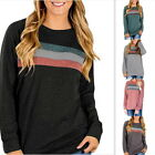 Fashion Women Patchwork Long Sleeve T-shirt Crewneck Loose Blouse Casual Tops GB