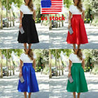 US Stock Vintage Women Stretch High Waist Skater Flared Swing Long Skirts Dress