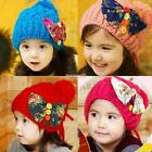 Girl Fashion Solid Beanie Knitted Warm Winter Hat Bowknot Patch with Pom FT