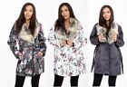 Ladies Long Sleeves Floral Parker Coat With Faux Fur Collar Plus Matching Belt