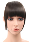 Bangs Fringe Clip in Hair Extensions Synthetic Natural Black Darkest Brown