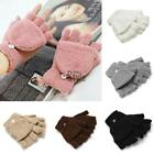 Women Winter Warm Half Finger Velvet Fingerless Short Gloves With Cover TXST