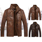 winter mens puleather coat collar cashmere casual coat jackets Warm Overcoat Top