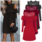 Autumn Women Long Sleeve Cold Shoulder Loose Hollow Out Party Cocktail Dress HOT