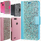 For ZTE Blade Z Max Premium Bling Diamond Wallet Flip Pouch Cover +Screen Guard