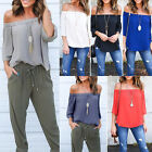 Women's Sexy Off Shoulder Tops Long Sleeve Shirt Casual Blouse Loose T-shirt New