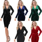 Womens Sexy Elegant V Neck Velvet Business Cocktail Party Club Sheath Wrap Dress