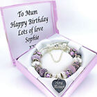 ENGRAVED Jewellery For Women Purple Bracelet PERSONALISED Box Birthday Gifts