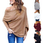 Oversize Women Off Shoulder Batwing Sleeve Knit Sweater Tops Pullover Outwear