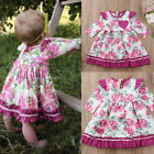 US Stock Baby Flower Dress Long Sleeve Princess Party Pageant Dresses Clothes