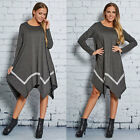 Womens Autumn Irregular Hem Pullover Sweater Knit Striped Blended Casual Dress