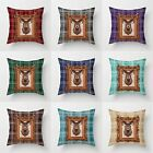 "3D Digital Tartan Check, Stag Cushion Covers 18"" x 18"" Decorative Pillow Cover"