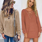 Nlife Women Long Sleeve V Neck Lace Up Kint Sweater Stylish Sweater Tops Hot