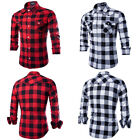 New Mens Check Plaid Shirt Fashion Long Sleeve Slim Work Casual Tops Size M-XXL