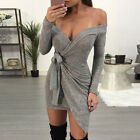 Womens Ladies Bodycon Off Shoulder Long Sleeve Casual Party Evening Mini Dress