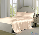 King Size Bed Sheet Set 4 Piece Deep Pocket Satin Sets Sheets With Pillow Case