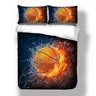 3D Basketball/Rugby Fire Duvet Cover Pillow Cases Quilt Cover Sports Bedding Set