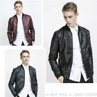 Men Casual Warm Fit Biker Motorcycle Jackets Faux Leather Baseball Collar Coat