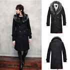 Mens Winter Warm Casual Double-breasted Black Faux Fur Coat Fashion Overcoat New