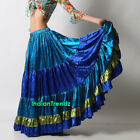 Teal Royal Blue Olive Green Satin 6 Yard Tiered Gypsy Skirt Belly Dance Jupe