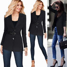 Women Notch Lapel Button Front Work Office Business Casual Outwear Jacket Blazer