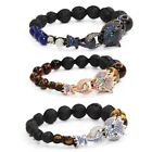 Men's Women's Beaded Bracelet Leopard Lion Charm Tiger Eye Energy Stone Gift