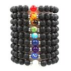 Charm 8mm Natural Stone Beaded Bracelet Black Lava Stone Bangle Yoga for Unisex