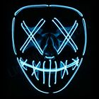 "Light Up Purge Mask ""Smiling Stitched"" El Wire 2018 (Halloween Rave Cosplay Edm)"