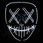 """Light Up Purge Mask """"Smiling Stitched"""" El Wire 2018 (Halloween Rave Cosplay Edm)"""