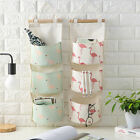 3Layer Linen Flamingo Storage Bag Wardrobe Hanging Bag Wall Pouch Toys Organize