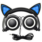 Foldable Cat Ear Gaming LED Music Lights Rechargeable Headphones Earphone