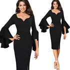 Womens Sexy Elegant Bell Long Sleeves Formal Cocktail Party Bodycon Sheath Dress