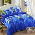 4Pcs Printed 3D Bedding Set Queen Size Quilt Cover Bed Sheet Pillowcases Textile