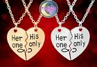 New Hey One His Only Engraved Heart shaped Split Couples Necklace