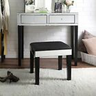 Rosalind Modern Contemporary Mirrored 2-Drawer Vanity Table with Stool Set